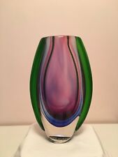 "Beautiful Vintage Original Mid Century Modern ""Sommerso"" Murano Art Glass Vase"
