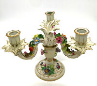 Antique Carl Thieme Dresden Porcelain Candelabra Flowers Potschappel Germany