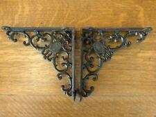 "New listing 2 Brown Antique-Style 8"" Shelf Brackets Cast Iron garden wall rustic Victorian"