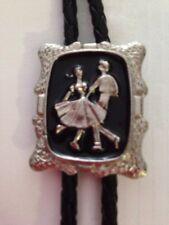 New Silver Square Dance Black Enamel Bolo Tie