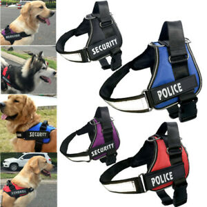Adjustable Service Dog Vest Harness Patches Reflective Small Large Medium S-XL