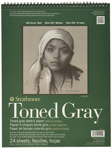 """Strathmore 412-111 400 Series Toned Gray Sketch Pad, 11""""x14"""" Wire Bound, 24"""