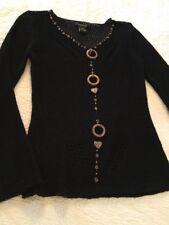 BCBGMaxazria Black Beaded Sweater Long Sleeve Womens S