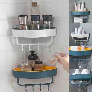 Triangular Corner Shelf Storage Rack Holder Organizer Kitchen Bathroom Shower