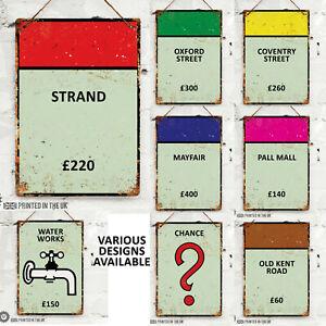 Monopoly Street UK Edition Metal Wall Sign. Pub Bar Kitchen Home Mancave Retro