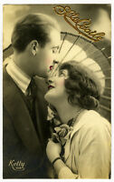 1920's French Deco ROMANIC COUPLE photo postcard