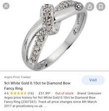 GENUINE 9ct White Gold Diamond Ring Size M