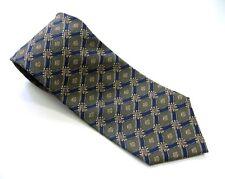 Windsor Neck Tie Olive Green & Dark Blue Diamond Basket Weave 100% Silk Necktie