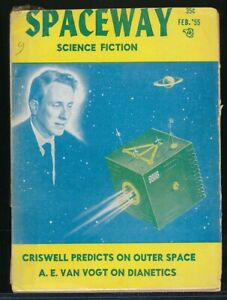 SPACEWAY Feb. 1955 SciFi Digest Signed by FORREST J. ACKERMAN Dianetics Article