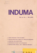 Induma 1-S, Vertical Turret Milling, Operations and Parts Lists Manual 1973