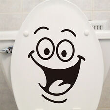 Smiley Face WC Toilet Decal Wall Mural Art Decor Funny Bathroom Sticker Vinyl FT