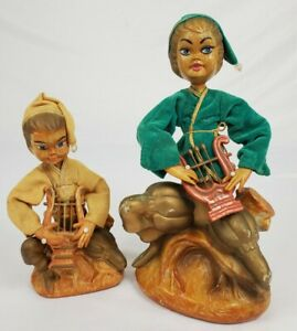 Vintage Tilso Pixie Elf Nymph Figurine Pair Gnome Hong Kong Mid-Century