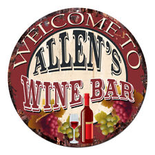 Cmwb-0114 Welcome to Allen'S Wine Bar Chic Tin Sign Man Cave Decor Gift