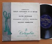 "33C 1036 David Oistrakh Sibelius Violin Concerto Ehrling Columbia 10"" Vinyl LP"