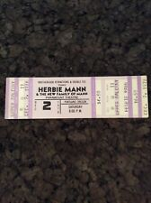 Herbie Mann 1978 Unused Concert Ticket Portland Oregon Paramount Theatre