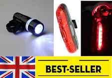 front torch + rear 5 led light set -flashing waterproof white red lights lamp UK