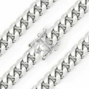 .925 Sterling Silver Solid Miami Cuban Curb Link Chain Necklace Rhodium 7mm NEW