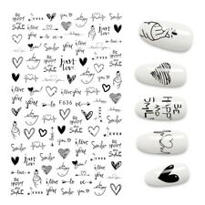 3D Nail Stickers Cute Love Hart Art Design Water Transfer Nail Art B & W Color