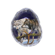 Color Printing Wolf Agate Gemstone Pendant Necklace Y1901 0215
