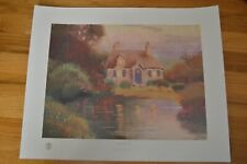 Thomas Kinkade Pastel Cottage 20x16 Offset Lithograph Hand Signed w/ Kinkade COA