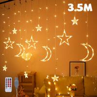 3.5M LED chaîne fée rideau lumières scintillantes lune étoile fenêtre décor LB