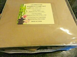 new 4 pc BAMBOO blend FULL size SHEET Set silky soft Taupe tan hyperallergenic