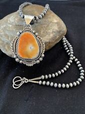 Native American Sterling Silver Navajo Pearls Orange Spiny Oyster Pendant 777