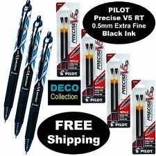 Pilot Precise V5 RT DECO Collection, 3 Pens, 4 Packs Refills 0.5mm Black X-Fine