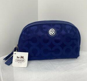 New Coach Cosmetic Bag Julia Navy Blue Signature Nylon Leather Zip Top 45093 M5