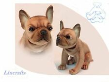 Assis beige FRENCH BULLDOG PUPPY Plush Soft Toy Dog par Hansa. 6596. 20 cm