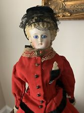 Lovely Antique 20 In. German French Fashion Molded Bisque Parian Glass Eye Doll
