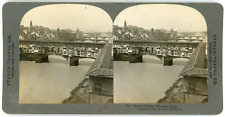 Stereo, Stereo Travel Co., Ponte Vecchio, Florence, Italy Vintage stereo card -