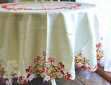 """Large Round Table Cloth, Embroidered Butterflies, D225cm (90"""") FFD018R"""
