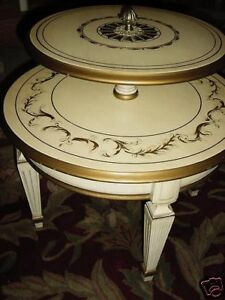 FRENCH FLORENTINE HOLLYWOOD REGENCY 2 TIER ACCENT TABLE