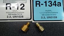 R12 to R134a Tank/Vacuum Pump Adapters, 1/4FMF x 1/2 ACME-M & 1/2 ACME FM x 1/4M