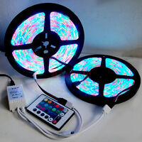 10M 2x5M 3528 SMD RGB 600LEDs LED Strip Lights Lamp 24Key IR remote Controller