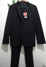 FB Fashion Black Satin Men's Suit 2 Buttons Blazer Pants Italy Size XL 56 NEW