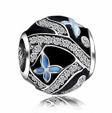 Blue Leaves Charms Silver Bead Fit European 925 Sterling Bracelets Bangle Chain