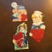 Lot of 3 Children's Vintage Valentines 1940s Cute Little Boys Sailor Farmer Used