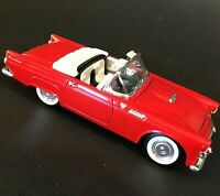 1955 FORD THUNDERBIRD CONVERTIBLE MODEL CAR RED AND WHITE DIE CAST SS7714