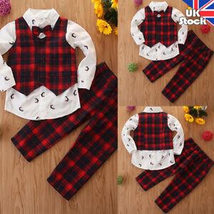 3Pcs UK Kids Boys Button Shirt+Waistcoat+Pants Gentleman Plaid Party Outfits Set