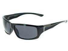 Lunette soleil noir brillant pour homme modèle sportif  +  Pochette à lunette.