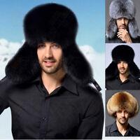 Ushanka Men's Winter Real Raccoon Fur&Lamb Leather Russian Cossack Trapper Hats