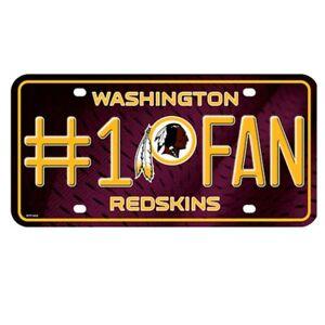 "WASHINGTON REDSKINS NFL LICENSED 12"" METAL LICENSE PLATE AUTO TAG FREE SHIPPING"