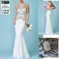 Vestito Sposa Abito Cerimonia con Strass Donna Goddiva Wedding Dress CG-DR1216W