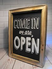 SHOP OPEN SIGN SHABBY CHIC PUB BAR CAFE SHOP RETRO WE ARE OPEN STANDING SIGN