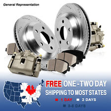 Front OE Brake Calipers and Drilled/Slotted Rotors & Ceramic Pads Pair Set Kit