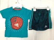 ADIDAS Infant Boys 2PC Tee Top Shirt Shorts Baseball Glove Mitt Teal Blue 12 12m