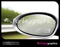 BMW Z3 LOGO MIRROR DECALS STICKERS GRAPHICS DECALS x3 IN SILVER ETCH