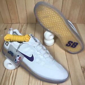 Nike SB Nyjah Free 2 NBA Lakers Lebron White Purple Skate Shoes Men's Size 8